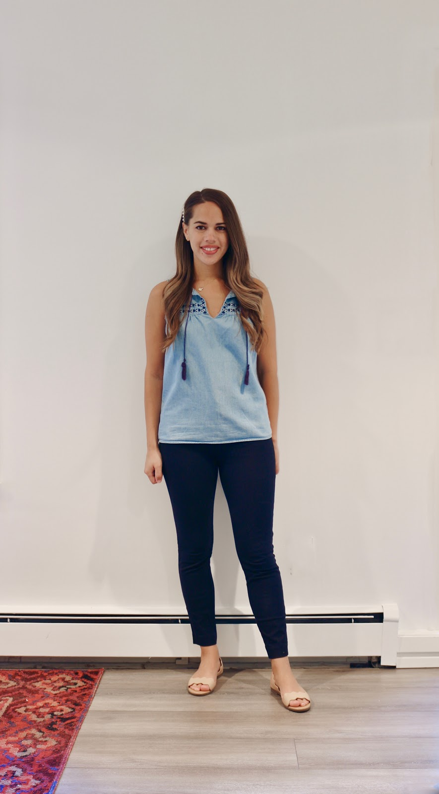 Jules in Flats -  Chambray Tassel Tie Top (Business Casual Summer Workwear on a Budget)