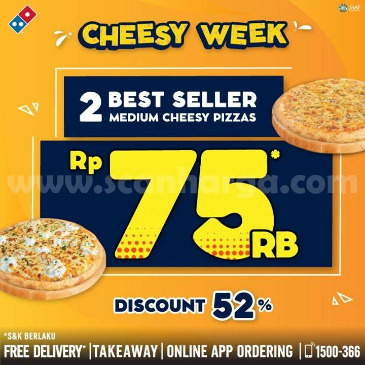 Promo Domino's Pizza Cheese Week - 2 BEST SELLER Medium Cheese Pizza cuma Rp 75.000*