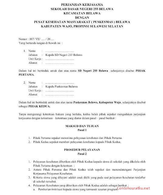 Contoh Surat Perjanjian Kerja Sama Pelayanan Kesehatan Sekolah Dengan Puskesmas Word  Doc