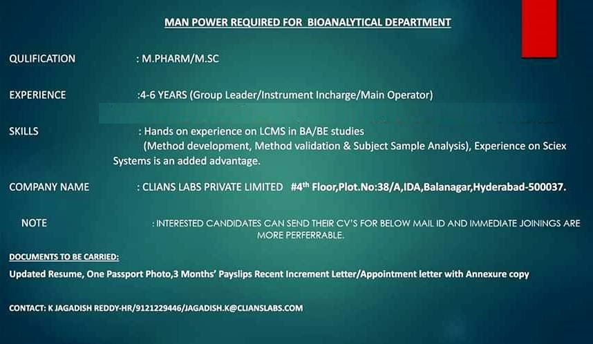 Clians Labs Pvt. Ltd - Urgent Openings in Bioanalytical Department