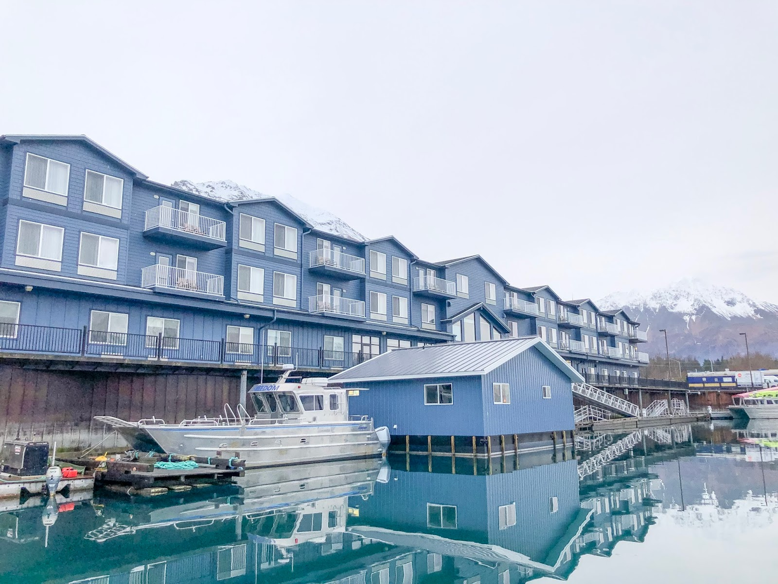 view of Seward Harbor from Harbor360 Hotel Seward Alaska