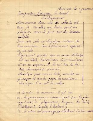 Cahier de rédactions, élève Denise D., née le 3 octobre 1925, 1936 (collection musée)