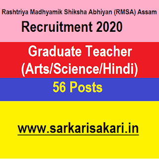 RMSA Assam Recruitment 2020- Graduate Teacher (56 Posts) Apply Online