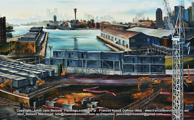 Plein air oil painting of Sydney Harbour and the construction of Star Casino from the roof of Pyrmont Power Station  by industrial heritage artist Jane Bennett