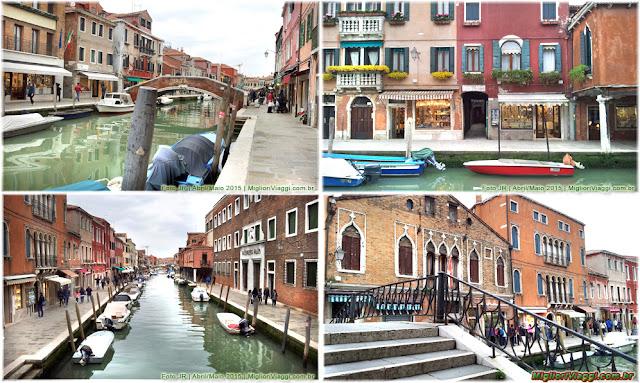 Canal e pontes em Murano