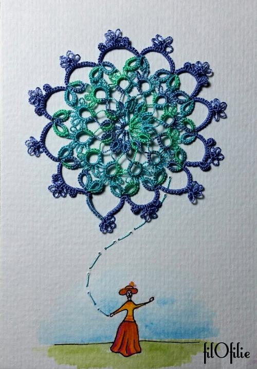 Carte postale en aquarelle et frivolité,dentelle aux navettes,  création filOfilie