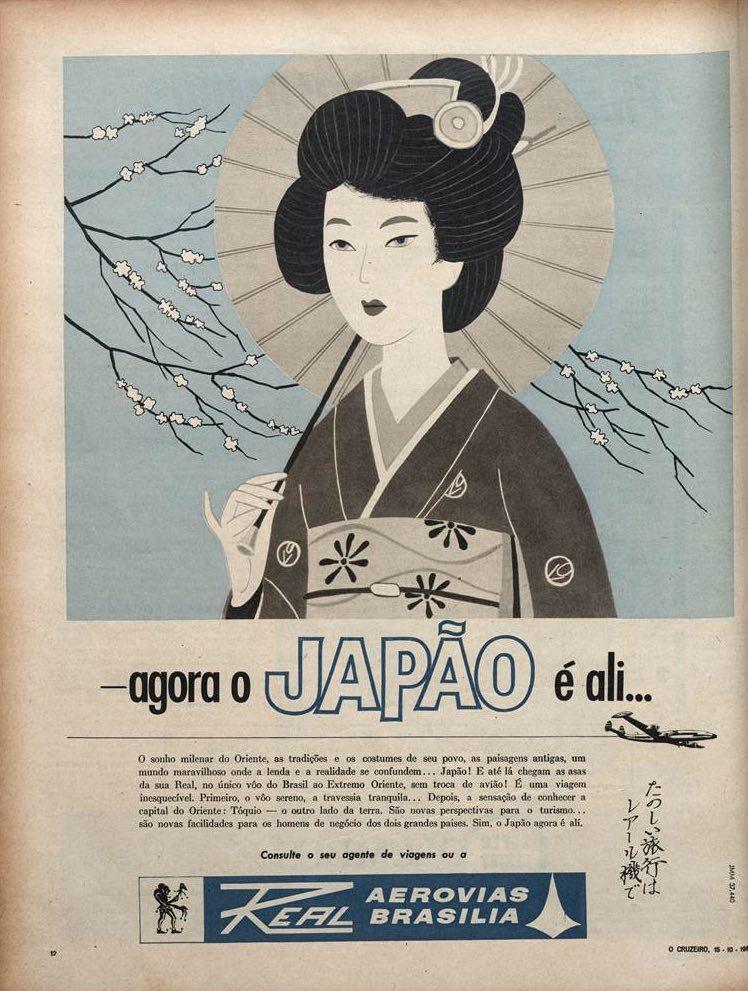 Propaganda antiga da Real Aerovias Brasília com voos para o Japão no começo dos anos 60