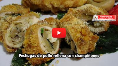 Deliciosas pechugas de pollo rellenas con champiñones,  una receta muy fácil, sencilla y económica de preparar para disfrutarlo con la familia.