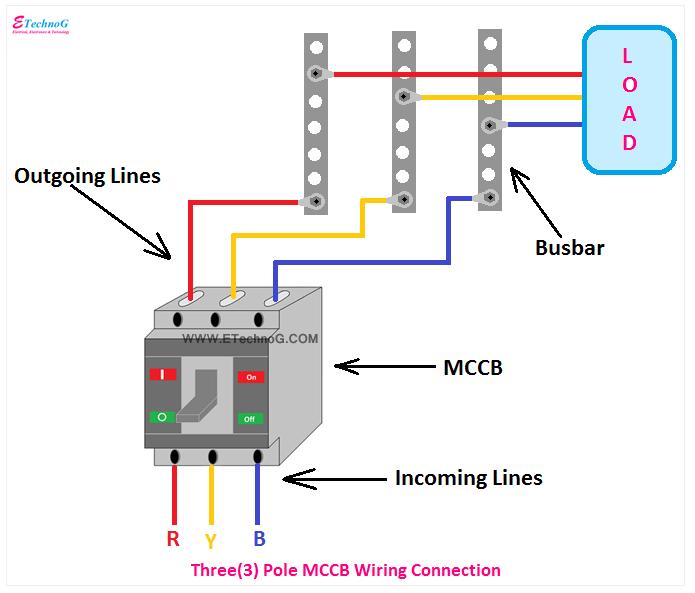 three pole MCCB Connection diagram, 3 pole MCCB wiring