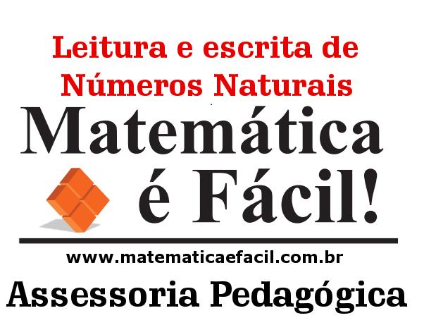Leitura e escrita de Números Naturais