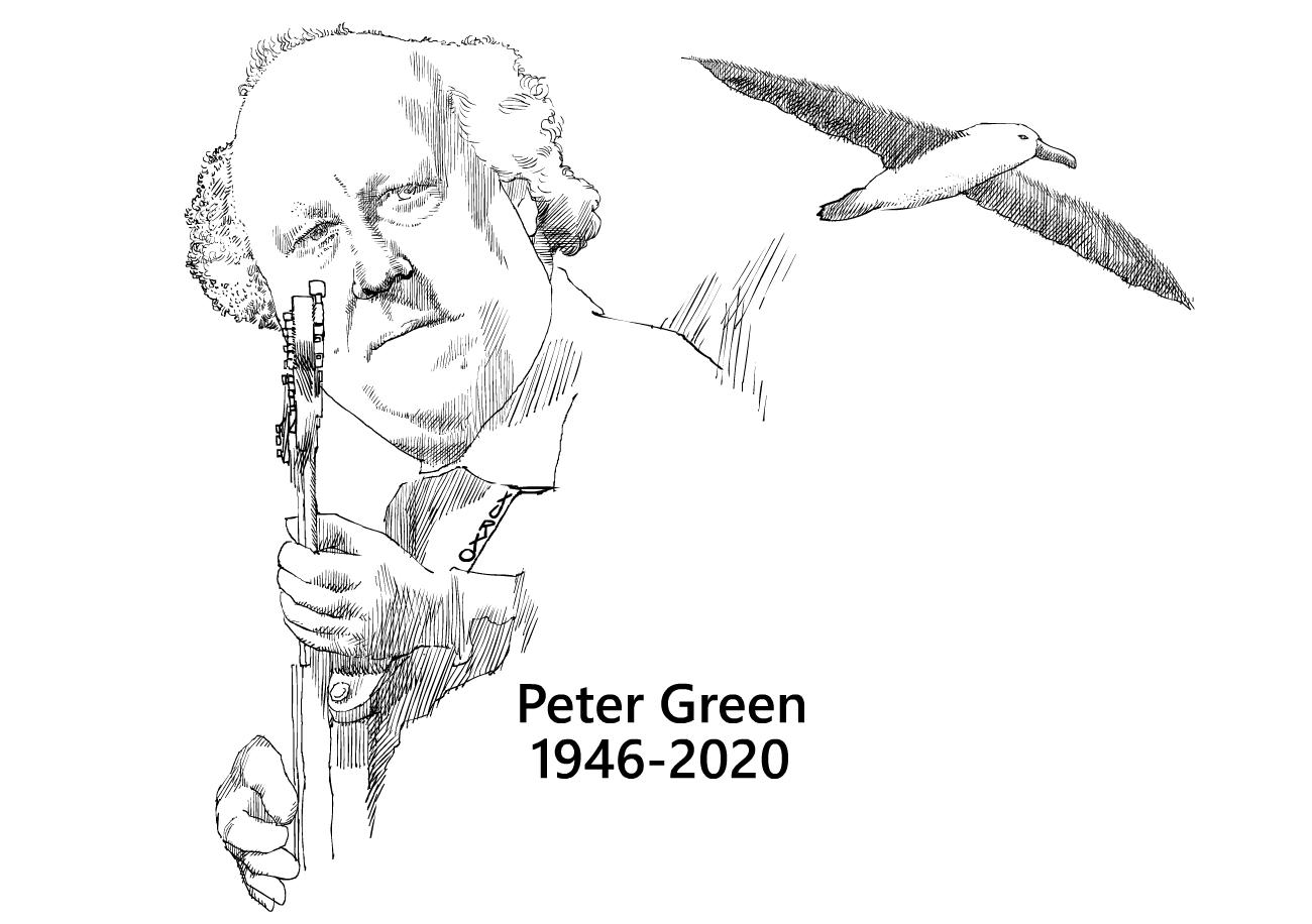caricatura de Peter green con un albatros