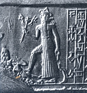 Nergal holding a double-lion mace and a scimitar