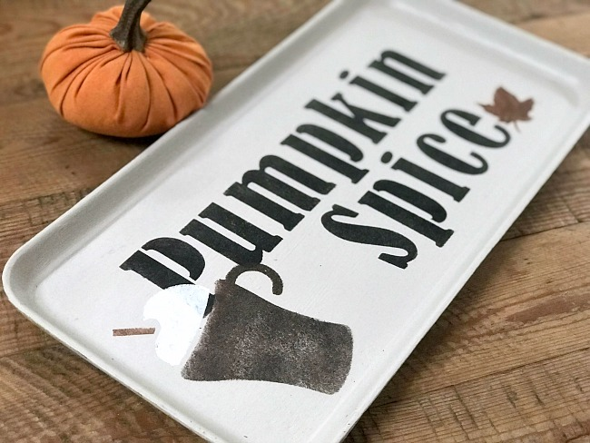 Old Sign Stencils Pumpkin Spice Tray with a small orange pumpkin