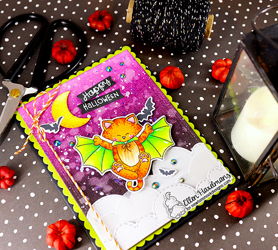 Happy Halloween Card by Ellen Haxelmans |  Batty Newton Stamp Set, Sky Borders Die Set and more by Newton's Nook Designs #newtonsnook