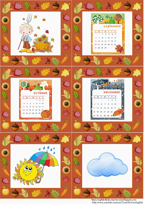 autumn fall flashcards, months