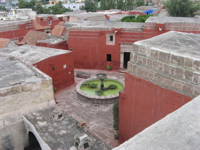 Rooftops and fountain in Monasteria Santa Carolina, Arequipa, Peru