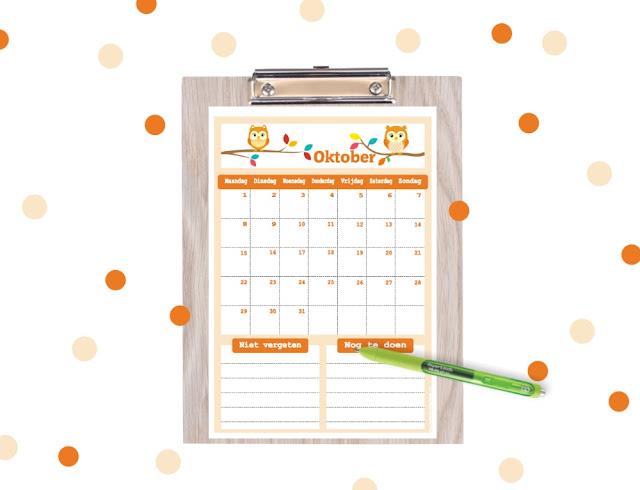 kalender om te printen, printable kalender, kalender printable, halloween kalender, gratis kalender, kalender voor kinderen, kalender voor op school, schoolkalender, vrolijke kalender, aftelkalender, oktober 2018 kalender, kalender voor de herfstvakantie, herfstvakantie kalender, herfstvakantie