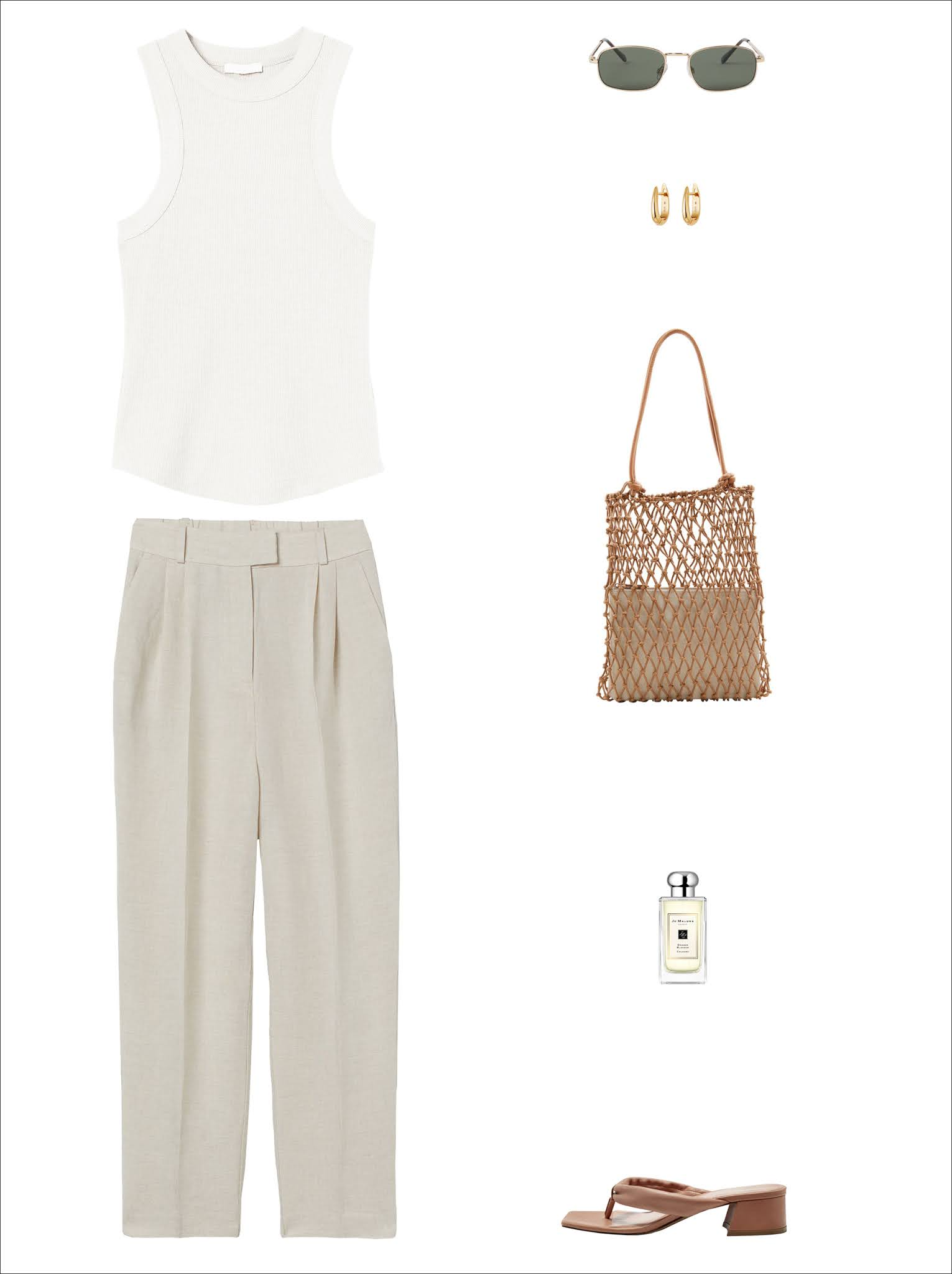 Under $100 Summer Outfit Idea — Neutral Look With Elevated Ribbed White Tank Top, Metal-Rim Sunglasses, Gold Hoop Earrings, Net Tote Bag, Beige Linen Pants, Jo Malone Orange Blossom, Tan Heeled Flip Flop Sandals
