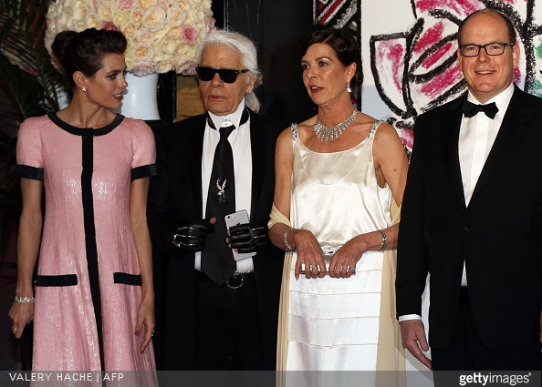 Charlotte Casiraghi, Karl Lagerfeld, Princess Caroline of Hanover and Prince Albert II of Monaco arrive for the annual Rose Ball at the Monte-Carlo Sporting Club in Monaco