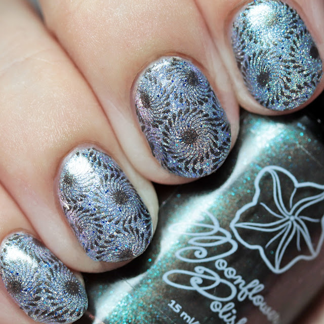 Moonflower Polish The Stone Dog stamped over Blush Lacquers The Blue Lady using Über Chic 22-03 plate