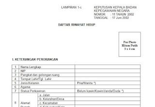 Download Formulir Daftar Riwayat Hidup PNS/CPNS Format Word dari BKN