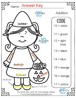 Fern Smith's Classroom Ideas - Fern's Freebie Friday ~ Color By Numbers Halloween Addition With Three Addends Available for Free at TpT.