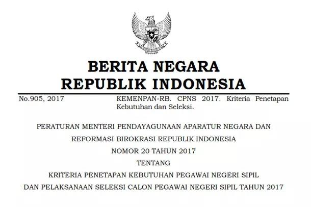 Permenpan RB Nomor 20 Tahun 2017 Tentang Kriteria Penetapan Kebutuhan PNS dan Pelaksanaan Seleksi CPNS Tahun 2017