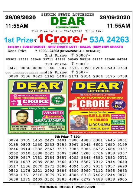 Lottery Sambad Today 29.09.2020 Dear Admire Morning 11:55 am