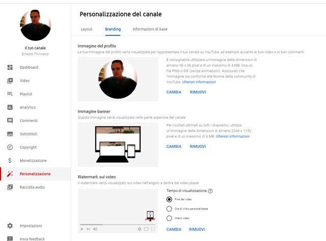 scheda branding youtube