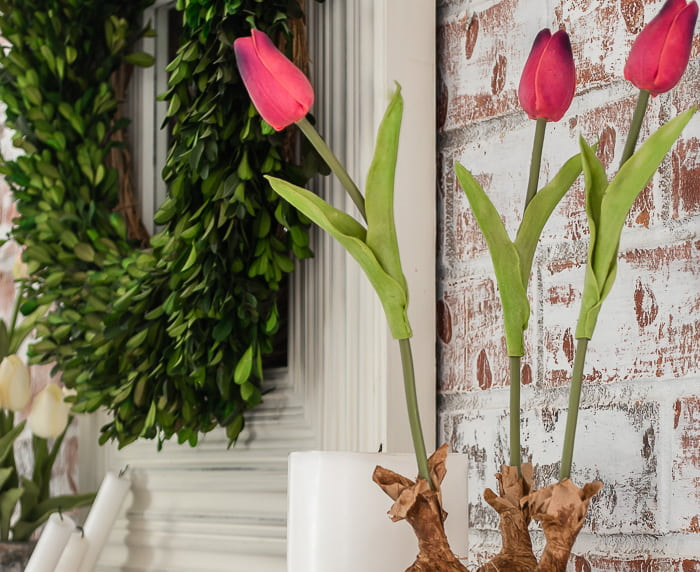 faux pink tulips