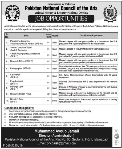 Pakistan National Council of Arts PNCA Islamabad Jobs 2020