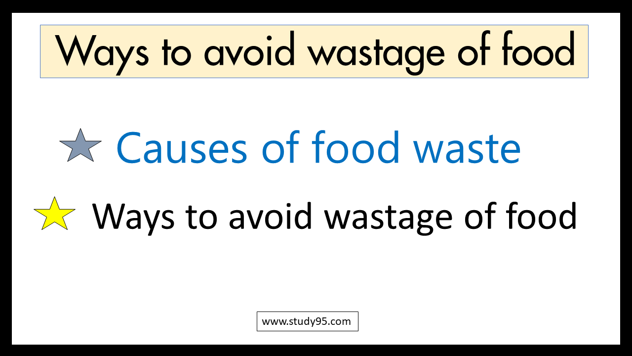ways to avoid wastage of food