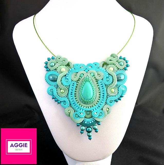 mint turquoise soutache necklace miętowy turkusowy naszyjnik sutasz