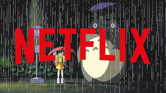 Netflix logo with a scene from My Neighbor Totoro background where a girl and a giant anime cat stands under the rain with their umbrellas