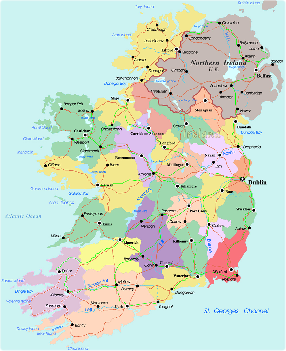 Regional Map Of Ireland.Ireland Political Regional Map Ireland Map Geography Political