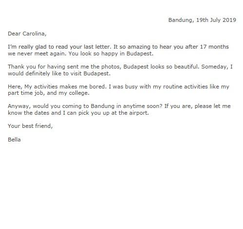 Contoh Surat Pribadi Untuk Teman dalam Bahasa Inggris (via: kotakpintar.com)
