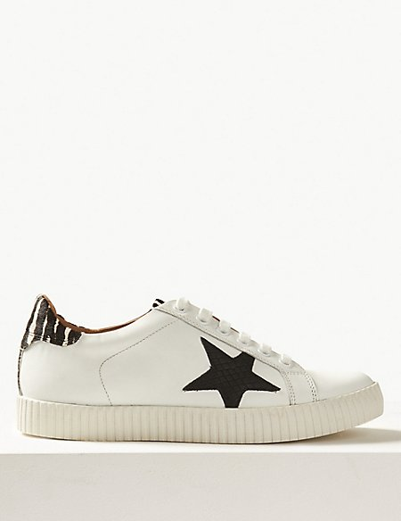 marks and spencer wide fit leather star trainers