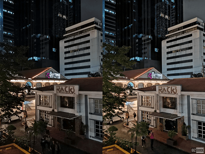 Normal shot vs with Night mode
