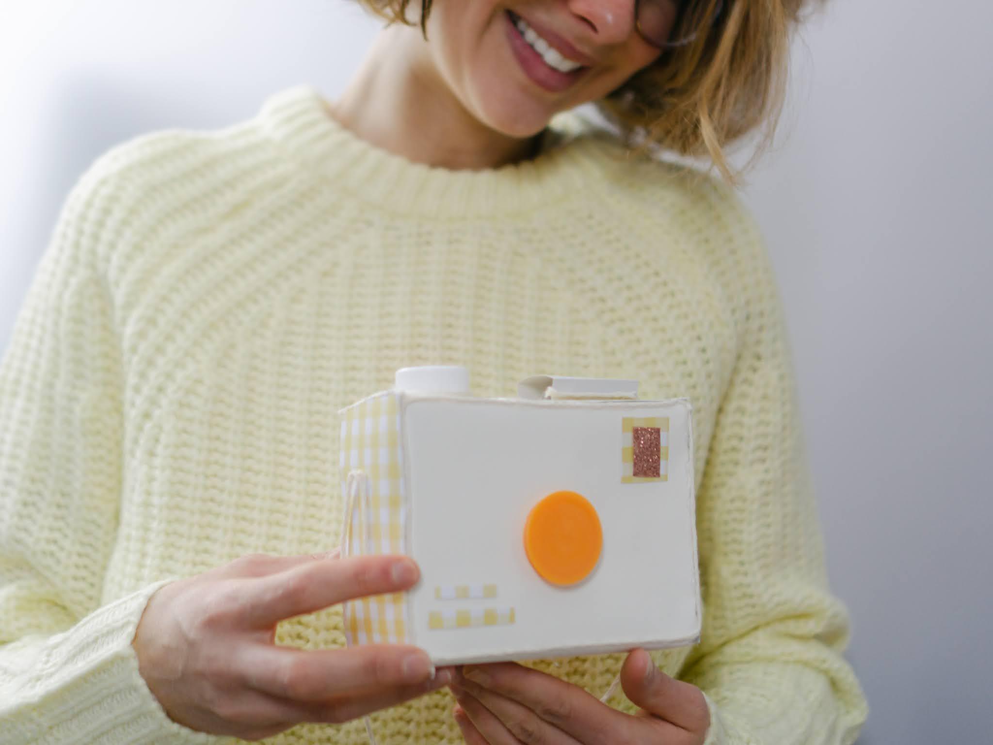Use an empty granola bar box and DIY a cardboard camera