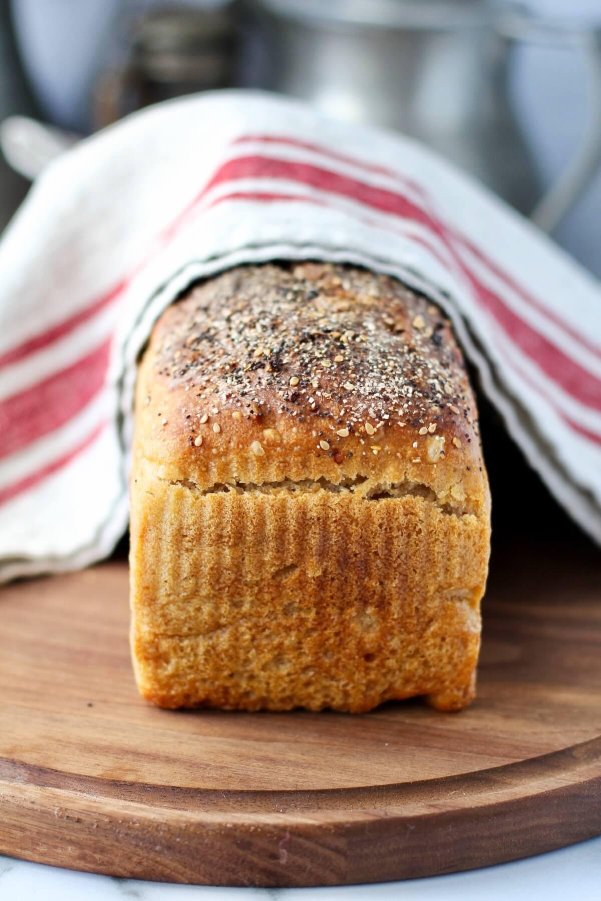 No Knead Sourdough Sandwich Bread with whole wheat.