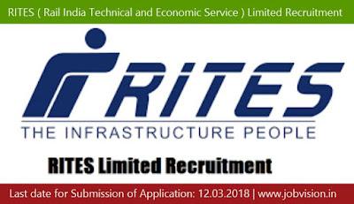 RITES ( Rail India Technical and Economic Service ) Limited Recruitment 2018