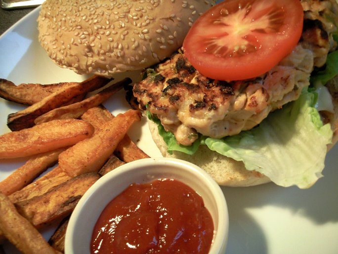 Sweet Chilli Chicken Burgers with Sweet Potato Chips