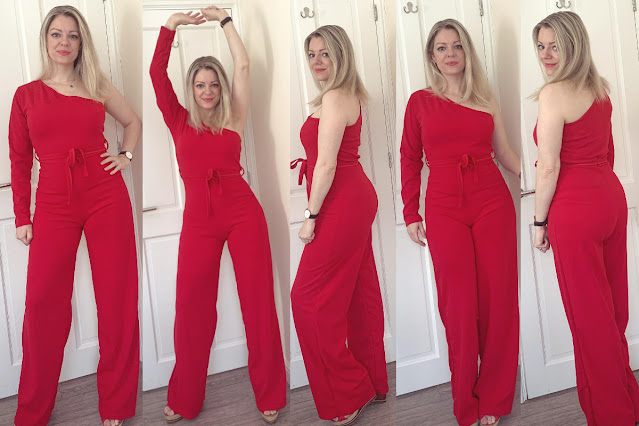 femme luxe red jumpsuit