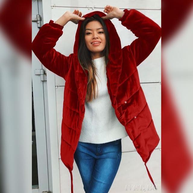 Μοντέρνο  κόκκινο γυναικείο μπουφάν AMORITA RED