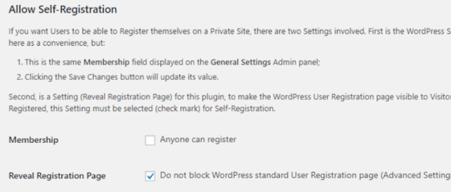 Step 2: Choose whether people can register on your site or not