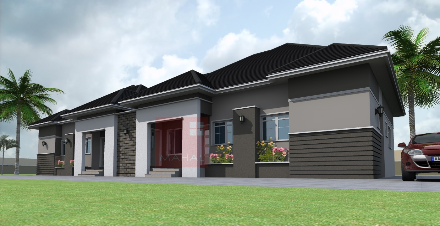 Contemporary nigerian residential architecture 3 bedroom for Three bedroom semi detached house plan