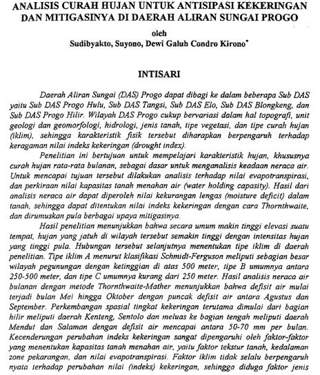 Analisis Curah Hujan Untuk Antisipasi Kekeringan Dan Mitigasinya Di DAS Progo [PAPER]
