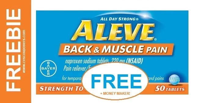 Free at CVS Aleve Pain Reliever 5/2-5/8