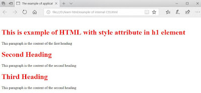 Example of Style attribute to mark up several text in HTML