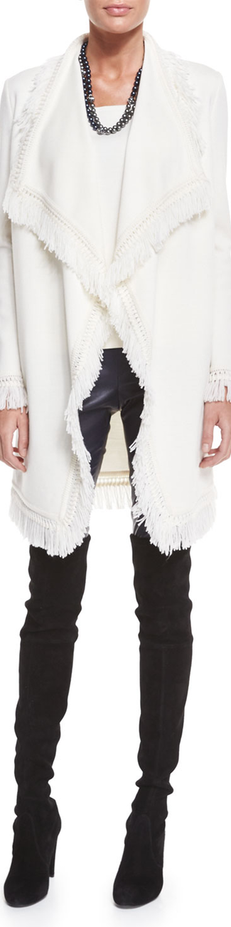 St. John Collection Milano Knit Artisan Fringe Topper Jacket, Cream